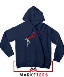 Banksy Suicide Girl Red Butterfly Navy Hoodie - Best Hoodies Banksy Art