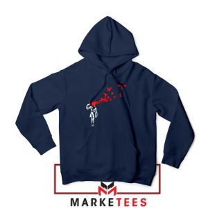 Banksy Suicide Girl Red Butterfly Navy Hoodie - Best Hoodies Banksy Art