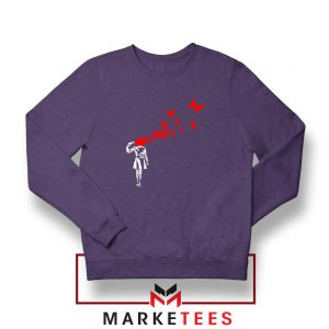 Banksy Suicide Girl Red Butterfly Navy Sweatshirt Buy Crewneck Banksy Art