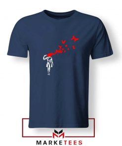 Banksy Suicide Girl Red Butterfly Navy T-Shirts Cheap Tee Shirts Banksy Art