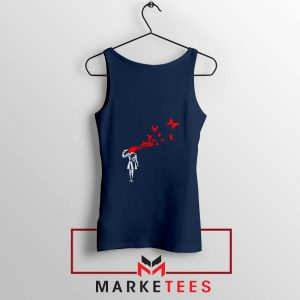 Banksy Suicide Girl Red Butterfly Navy Tank Top - Cheap Tanks Banksy art