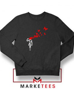 Banksy Suicide Girl Red Butterfly Sweatshirt Buy Crewneck Banksy Art