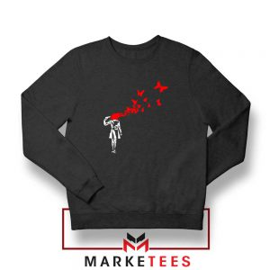 Banksy Suicide Girl Red Butterfly Sweatshirt Buy Crewneck Banksy Art