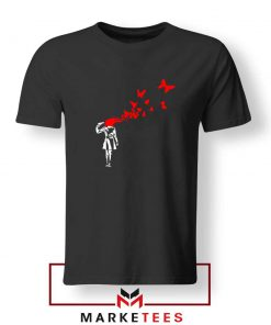 Banksy Suicide Girl Red Butterfly T-Shirts Cheap Tee Shirts Banksy Art