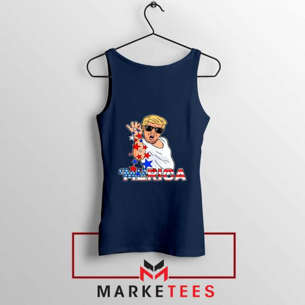 Donald Trump Parody Salt Bae Navy Tank Top
