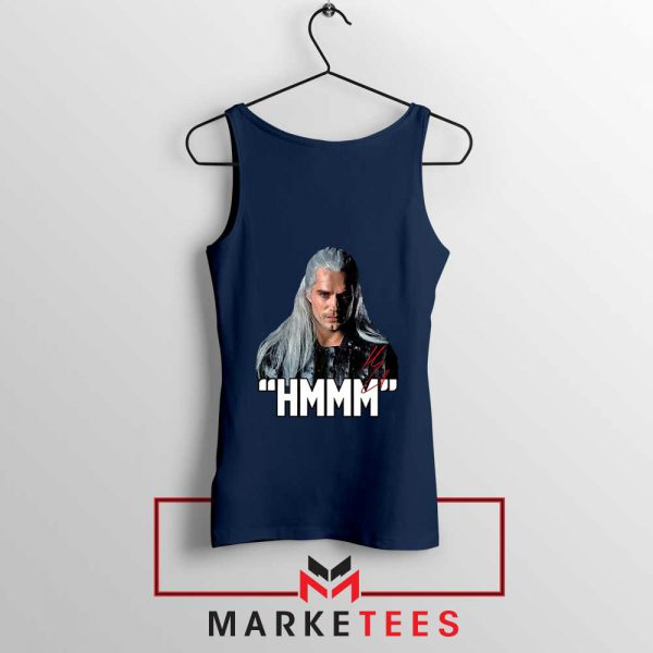 Geralt Of Rivia Saying Hmmm Navy Tank Top