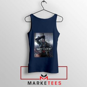Geralt Witcher Wild Hunt Navy Tank Top