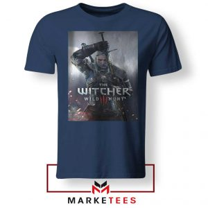 Geralt Witcher Wild Hunt Navy Tshirt