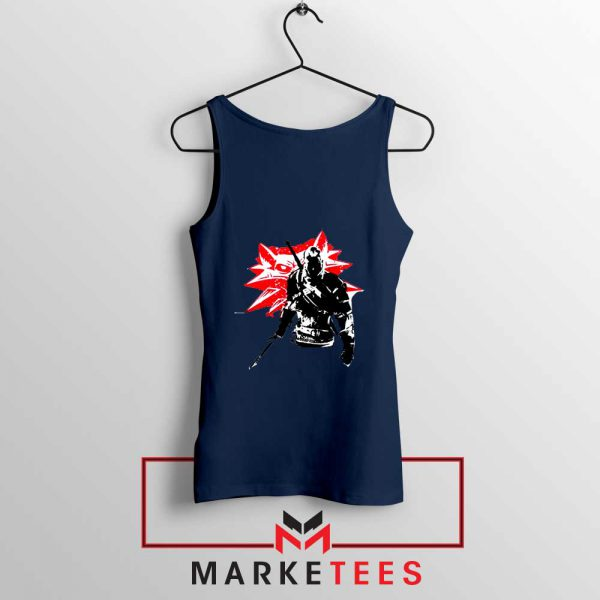 Geralt of Rivia Witcher 3 Navy Tank Top