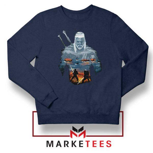 Geralt of Rivia and Eredin Navy Sweatshirt