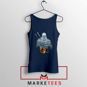 Geralt of Rivia and Eredin Navy Tank Top