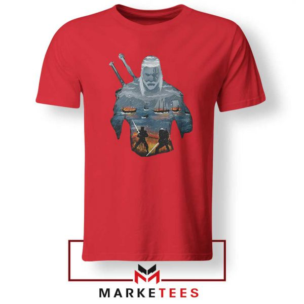 Geralt of Rivia and Eredin Red Tshirt
