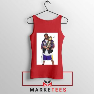 Kobe Bryant 5 Trophies NBA Red Tank Top