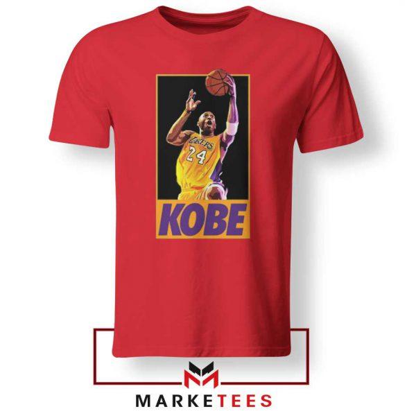 Kobe Bryant Slam Dunk Poster Red Tshirt