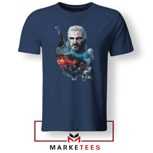 Witcher 3 Into The Fire Navy Tee Shirt