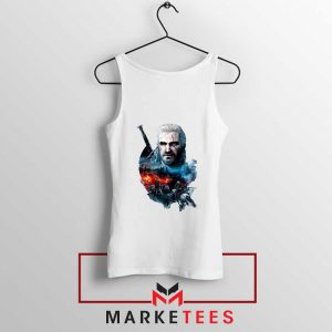 Witcher 3 Into The Fire White Tank Top