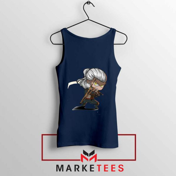 Witcher Rise of The White Wolf Navy Tank Top