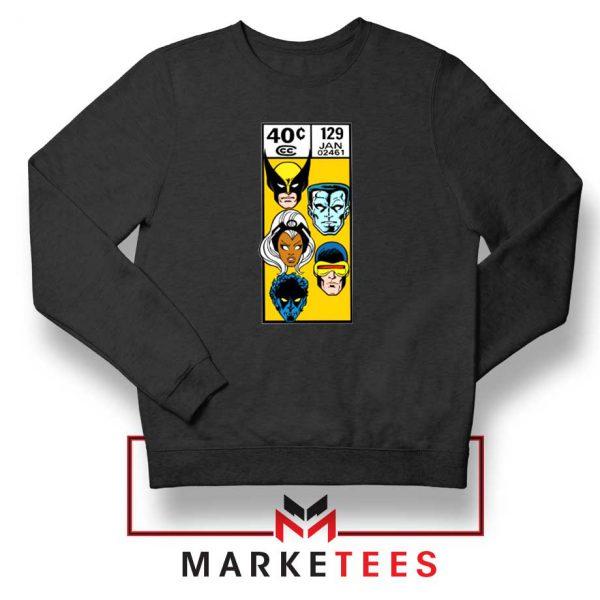 X Men Face Corner Box Black Sweater