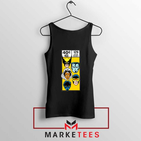 X Men Face Corner Box Black Tank Top