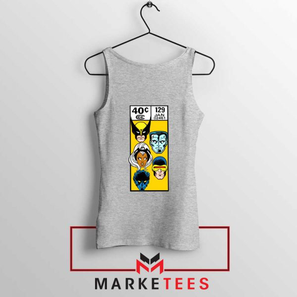 X Men Face Corner Box Grey Tank Top