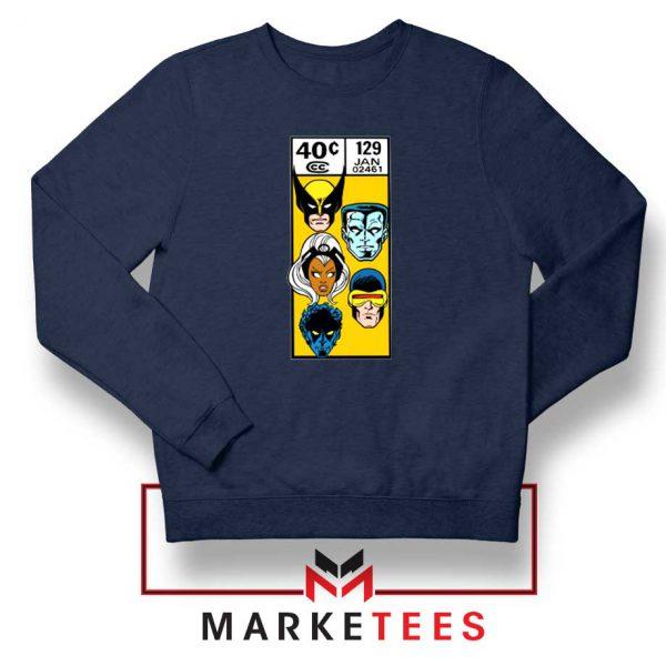 X Men Face Corner Box Navy Sweater