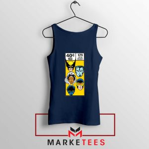 X Men Face Corner Box Navy Tank Top