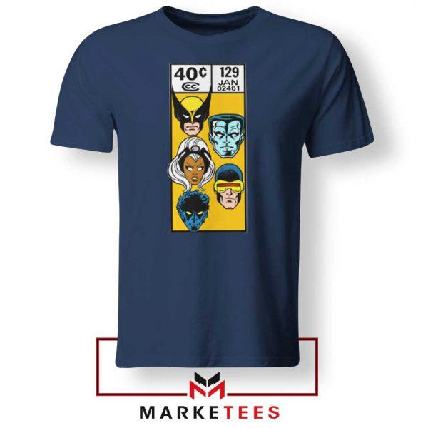 X Men Face Corner Box Navy Tshirt