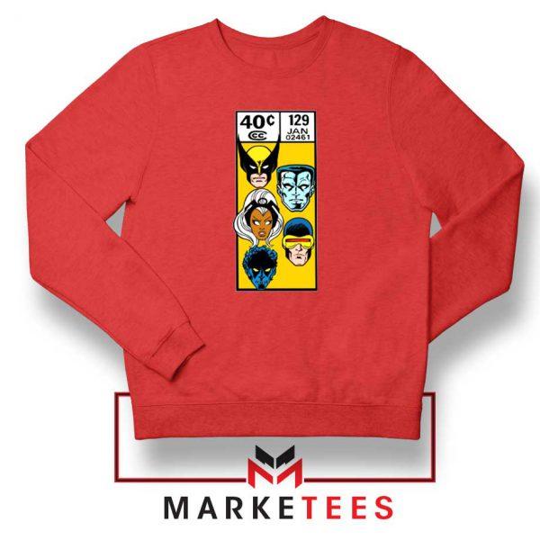 X Men Face Corner Box Red Sweater