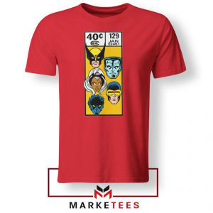 X Men Face Corner Box Red Tshirt