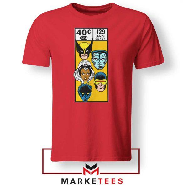 X Men Face Corner Box Red Tshirt
