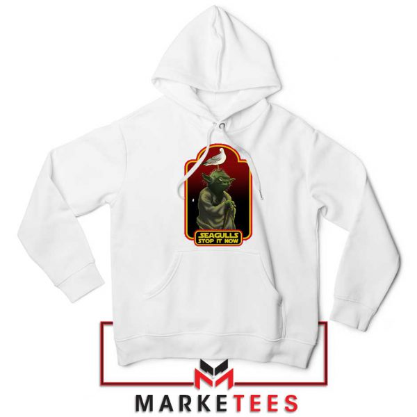 Yoda Seagull Stop It Now White Hoodie