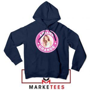 Ariana Grande Pink Starbucks Navy Blue Hoodie