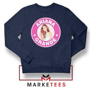 Ariana Grande Pink Starbucks Navy Blue Sweatshirt