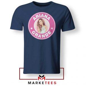 Ariana Grande Pink Starbucks Navy Blue Tee Shirt