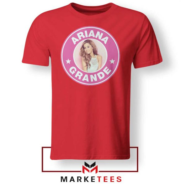 Ariana Grande Pink Starbucks Red Tee Shirt