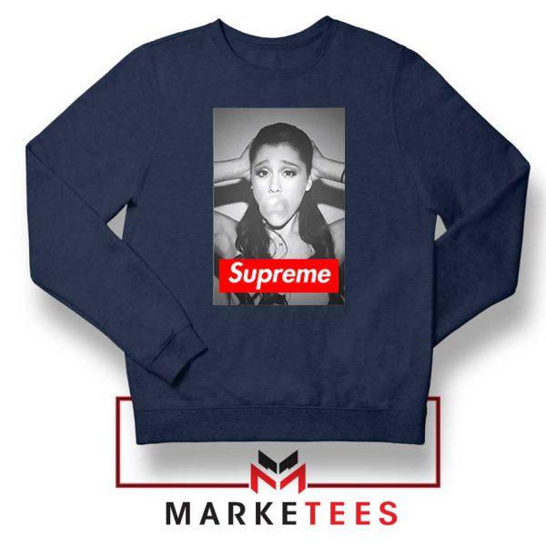 Ariana Grande Supreme Parody Navy Blue Sweatshirt