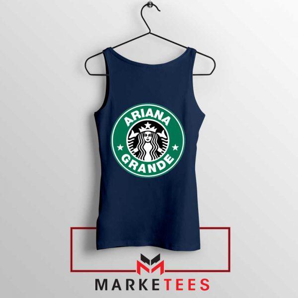 Ariana Starbucks Parody Navy Blue Tank Top