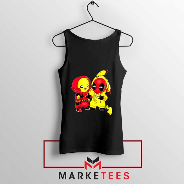 Baby Pikachu And Deadpool Black Tank Top
