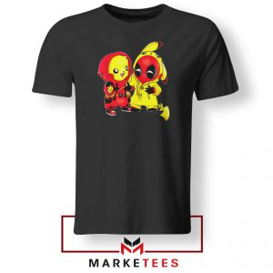 Baby Pikachu And Deadpool Black Tee Shirt