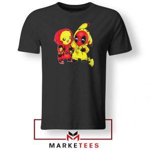 Baby Pikachu And Deadpool Black Tee Shirt