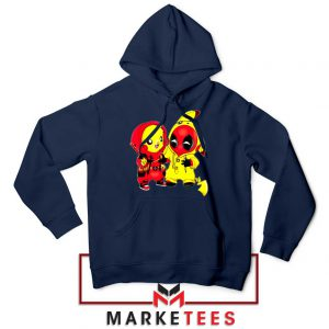 Baby Pikachu And Deadpool Navy Blue Hoodie