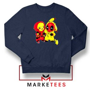 Baby Pikachu And Deadpool Navy Blue Sweater