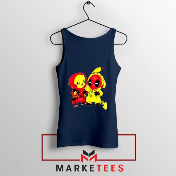 Baby Pikachu And Deadpool Navy Blue Tank Top