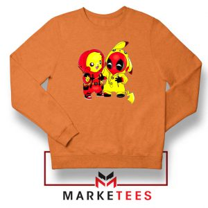 Baby Pikachu And Deadpool Orange Sweater