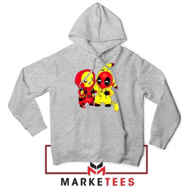 Baby Pikachu And Deadpool Sport grey Hoodie