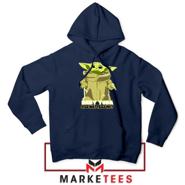 Baby Yoda Size Matters Not Navy Blue Hoodie