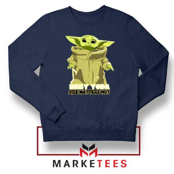 Baby Yoda Size Matters Not Navy Blue Sweater