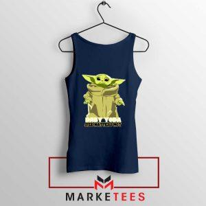 Baby Yoda Size Matters Not Navy Blue Tank Top