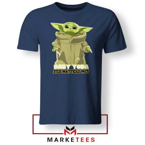 Baby Yoda Size Matters Not Navy Blue Tee Shirt