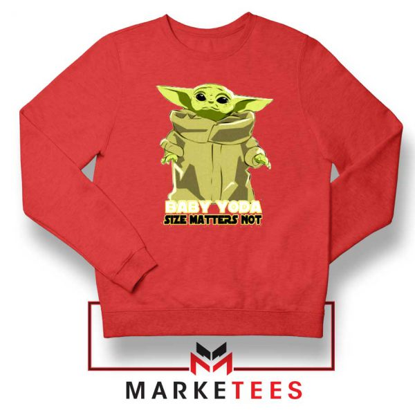 Baby Yoda Size Matters Not Red Sweater